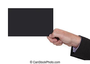 Man holding black card
