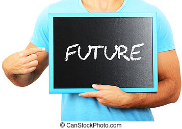 Man holding blackboard in hands and pointing the word FUTURE