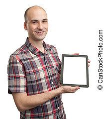 Man holding blank digital tablet
