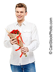 Man holding bouquet of roses