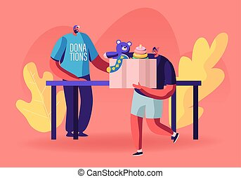 Man Holding Box with Kids Toys for Donating to Charity Organization Help Children in Troubles and Poor Families with Finance Problems. Volunteer in Donation T-shirt. Cartoon Flat Vector Illustration
