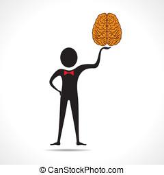 Man holding brain icon