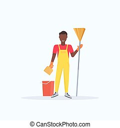 man holding broom african american guy cleaner sweeping floor cleaning service housekeeping concept full length flat white background