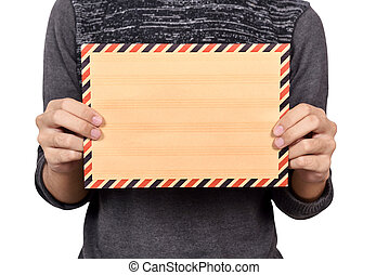 Man holding brown envelope