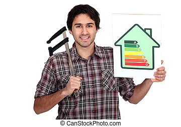 Man holding calipers and information about energy efficiency