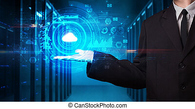 Man holding concentric hologram projection