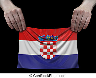 Man holding Croatian flag