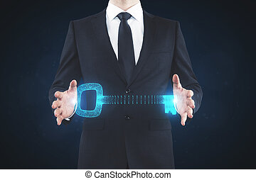 Man holding digital key