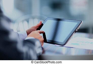 man holding digital tablet.