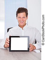 Man Holding Digital Tablet