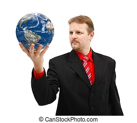 Man holding Earth globe in his hand
