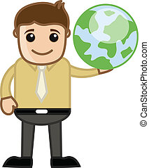 Man Holding Earth - Travel Concept