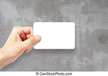 Man holding empty visiting card