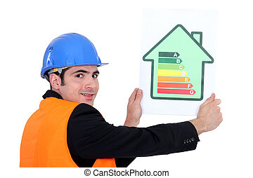Man holding energy rating card
