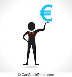 Man holding euro symbol