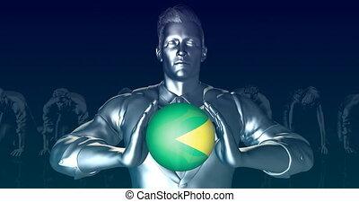 Man Holding Flag of Brazil as Global Sphere