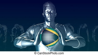 Man Holding Flag of South Africa as Global Sphere
