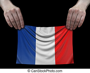 Man holding French flag
