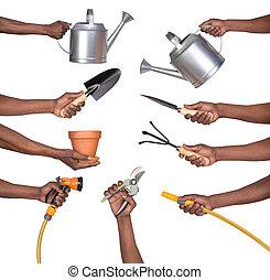 Man holding gardening tools