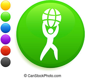 man holding globe icon on round internet button