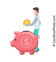 Man Holding Gold Coin, Dollar Money and Pig Vector