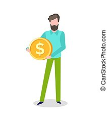 Man Holding Golden Coin with Dollar Sign Isolated
