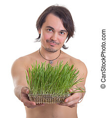 man holding grass flowerpot isolated on white background