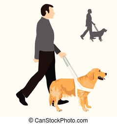 Man holding guide dog on harness and their silhouette.