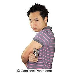 Man holding gun on white background