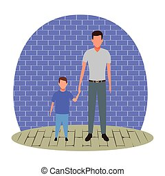 man holding hand of a child