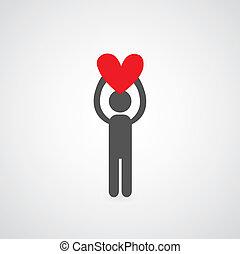 man holding heart symbol