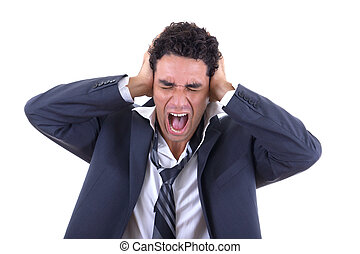 man holding his head and screaming