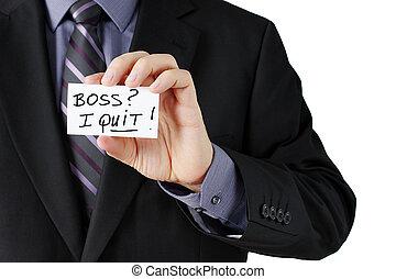 Man holding I quit card