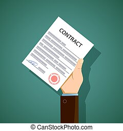 Man holding in hand a document contract. Stock vector illustrati