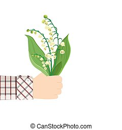Man holding in hand Lily Of The Valley