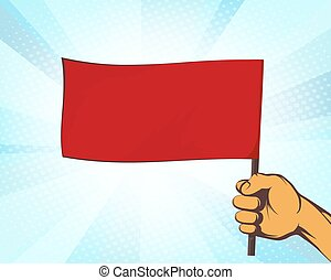 Man holding in his hand a red flag.