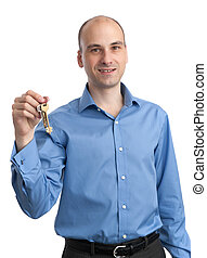 Man holding key