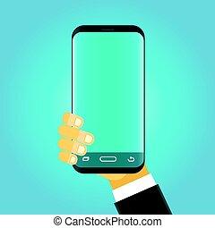Man holding modern smartphone