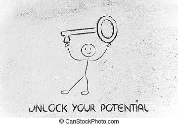 man holding oversized key, unlock your potential - unlock...