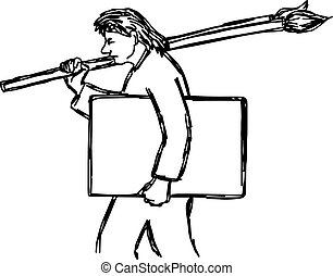 man holding paintbrush and canvas - vector illustration sketch hand drawn with black lines, isolated on white background