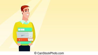 Man holding pile of books vector illustration.