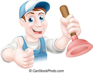 Man holding plunger - A handyman or plumber holding a sink...
