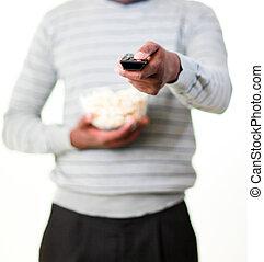 Man holding popcorn