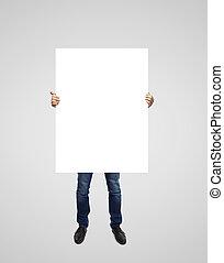 man holding poster