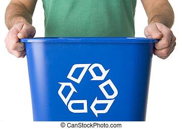 Man Holding  Recycling Bin