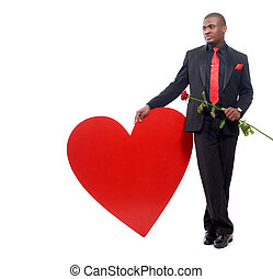 Man holding rose, present for Valentine Day.