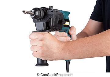 Man holding rotary hammer.