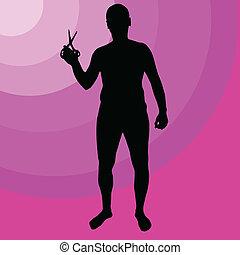 man holding scissors