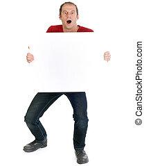 man holding sign