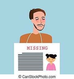 man holding sign of missing children kids announcement board